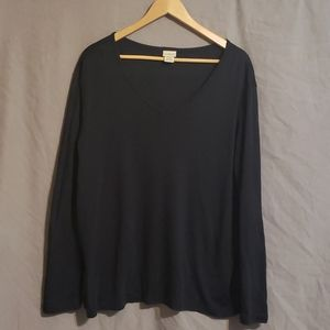 LL Bean v neck black long sleeve tee